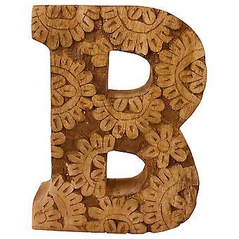 Bokstaven B Håndskåret treblomst