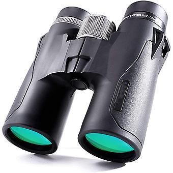 10x42 HD Kompakti Katto Prism Kiikarit, Vedenpitävä, Sumunesto ja iskunkestävä, sopii lintujen tarkkailuun, maisemiin ja metsästykseen,(musta)