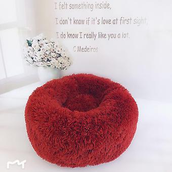 (Rot) Haustier bett,Hund Katze Rund Warm Kuschelzwinger Soft Welpen Sofa Kissen Außendurchmesser 40 cm