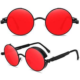 (עדשות אדומות מסגרת שחורה) עדשה עגולה וינטג משקפי שמש גברים נשים ג'ון לנון מעגל אוזי היפי