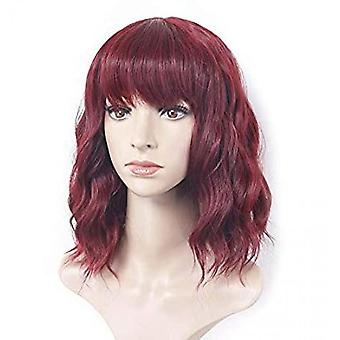 Women's Wave With Air Bangs Burgundy Short Curly Wig/daily Cosplay