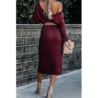 Langarm Midi Pullover Kleid