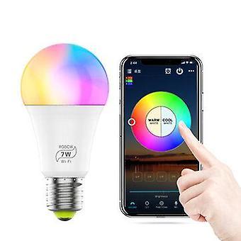 Ac85-265v e27 e26 b22 7w rgbcw wifi smart bulb voice control dimmable led globe light work with alexa google
