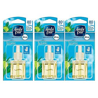 3 X 20Ml Ambi Pur Febreze Plug In Refill Air Freshener - Botanic Breeze (Spring)