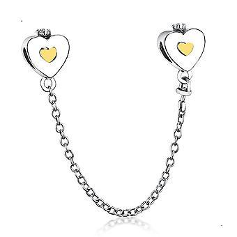 Náramek 925 Sterling Silver Náhrdelník Charm Heart Safety Chain Peradant DIY Šperky| Okouzluje