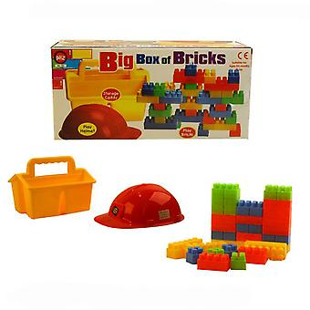 A to Z Big Box of Brick with Over 30 Duplo Style Bricks Plus Helmet & Caddy