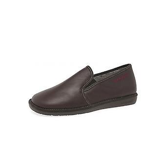 Nordikas 663 Dublin Men's Luxury Leather Slippers In Bordeaux