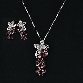Gold Color Cubic Zircon Flower Tassel Choker Pendant Necklace Earring Setsset Jewelry