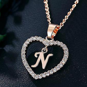 المرأة المجوهرات اسم الأحرف الأولى قلادة القلب قلادة 26 رسائل الحب القلائد الفتيات الهدايا الأولى