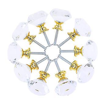 10pcs Sets 30mm Diamond Shape Design Crystal Glass Knobs Placard Tiroir Pull Kitchen Cabinet Door