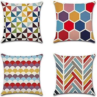 Värikäs geometria tyyny kattaa koristeellinen puuvilla pellava heittää tyynyliina sohva auton tyynyliina 45 X 45cm 4 Kpl