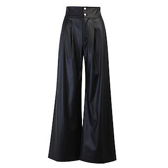 Color sólido Pierna ancha Pu Pantalones de cuero Sexy Cintura alta Moda Pantalones de cuero