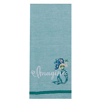 Imagine Blue Mermaid Coastal Embroidered Chambray Kitchen Dish Towel