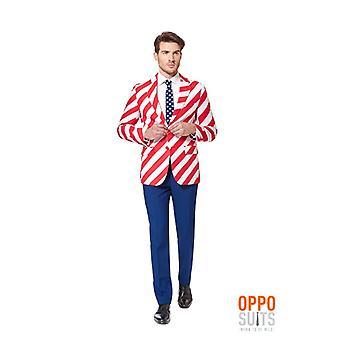 Opposuit Uni rayures Amérique USA costume slimline Premium 3 pièces UE tailles