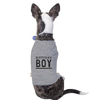 عيد ميلاد الصبي الكلب مضحك رمادي تي شيرت القطن هدية للحيوانات الأليفة الصغيرة فقط