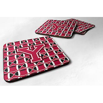 Set of 4 Letter Y Football Crimson and White Foam Coasters Set of 4