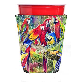 Carolines Treasures  8600RSC Parrot Head Group Red Solo Cup Hugger