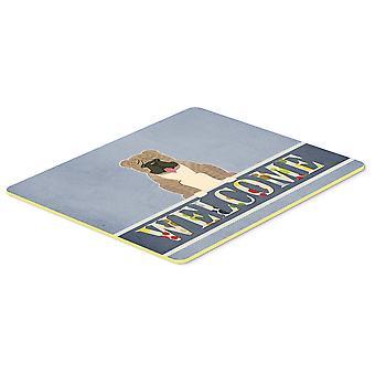 English Bulldog Grey Brindle  Welcome Kitchen or Bath Mat 20x30