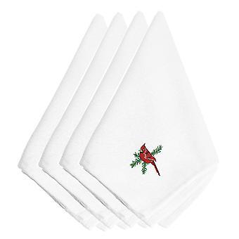 Boże Narodzenie kardynał haftowane serwetki zestaw 4