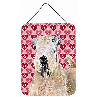 Wheaten Terrier Soft revestido corações amor dia dos namorados parede porta impressão de suspensão