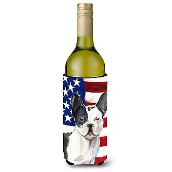 Black White French Bulldog Patriotic Wine Bottle Beverge Insulator Hugger