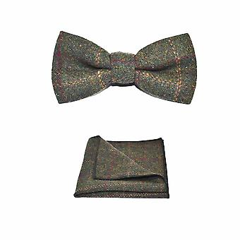 Heritage Check Moss Green Bow Tie & Pocket Square Set - Tweed, Plaid Country Look