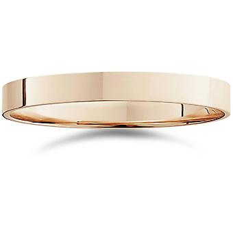3mm Flat High Polished Wedding Band 14K Rose Gold