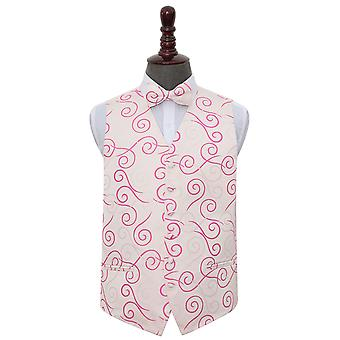 Ivory & Hot Pink Scroll Wedding Waistcoat & Bow Tie Set