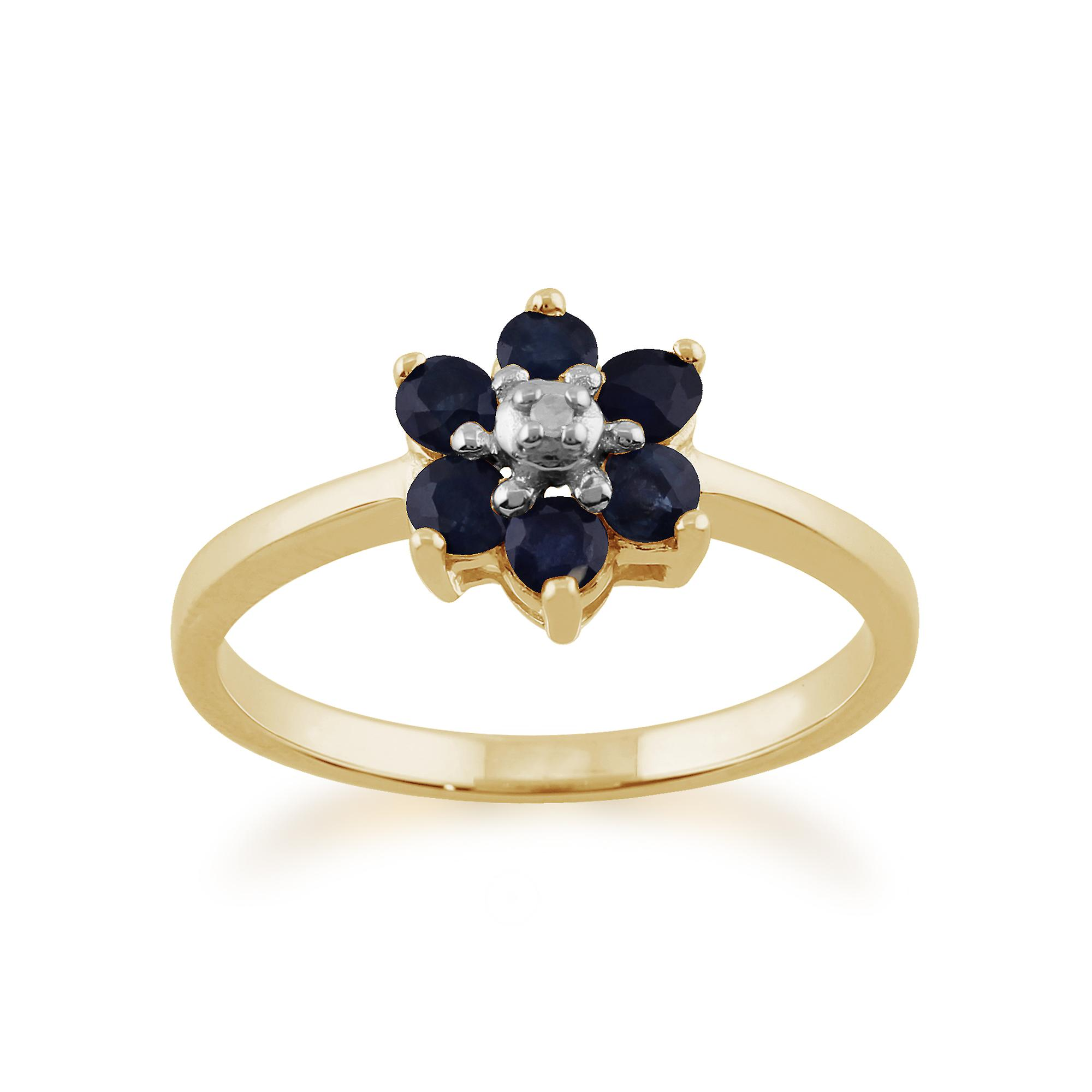 9ct Yellow Gold 0.55ct Natural Blue Sapphire & Diamond Floral Cluster Ring