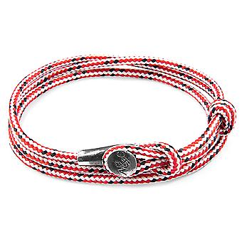 Anchor & Crew Red Dash Dundee Silver and Rope Bracelet