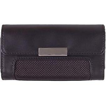 Wireless Solution Universal Large Fitted Horizontal Leather Pouch - Black