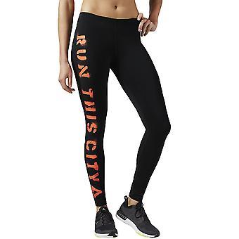 Reebok Kvinders Essentials kører Gym Fitness børstet Gym Leggings stram - sort