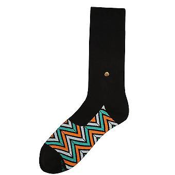 The Moja Club Zig Zag Incogni Midcalf Socks - Black/Green/Orange