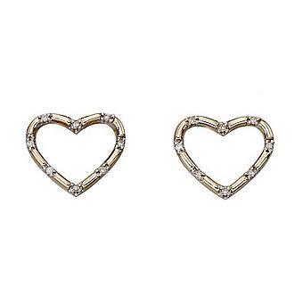 Elements Gold Diamond Heart Stud Earrings - Gold