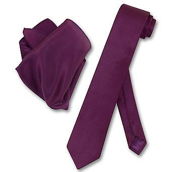 Biagio 100% משי עניבה רזה מוצק Mens הצוואר עניבה & מטפחת