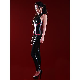 Skin Two Clothing Women's Catsuit Subordination Latex Rubber Metallic Red