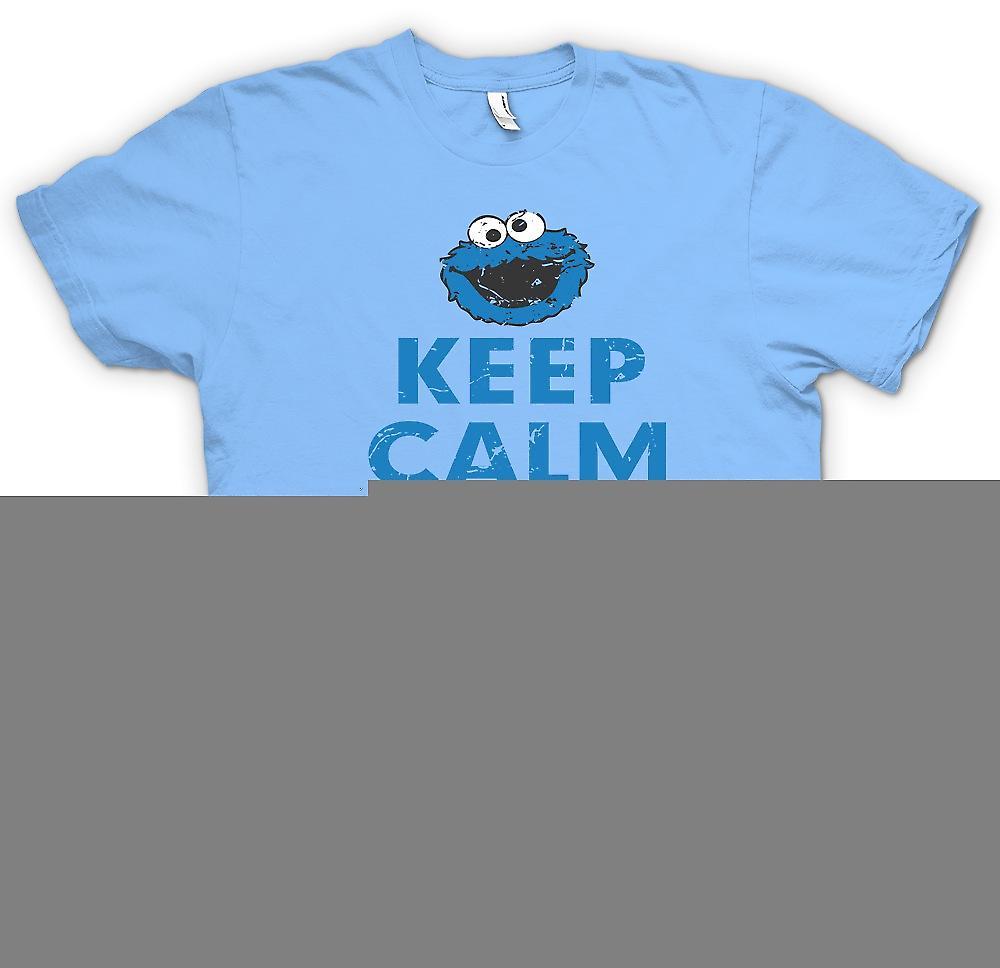 Herr T shirt Behåll lugnet och äta en Cookie Kakmonstret