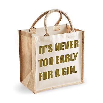 Střední jutová taška ' s pro gin-přírodní sáček nikdy příliš brzy