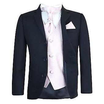 Boys New 5PC Navy & Pink Wedding Cravat Suit