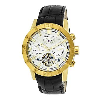 Heritor Automatic Hannibal Semi-Skeleton Leather-Band Watch - Gold/Silver