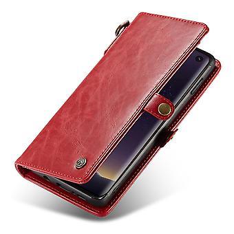 CASEME Samsung Galaxy S10e Retro carteira de couro Case-vermelho