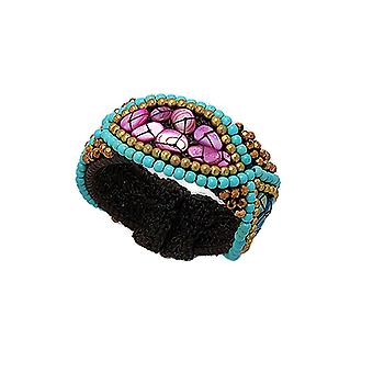 Turquoise Pearls and Violet Mother-of-pearl bracelet 2539