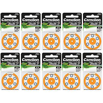 60-pack Camelion Zinc-Air Hearing Aid Batteries 13, A13, PR48,  Orange Colour