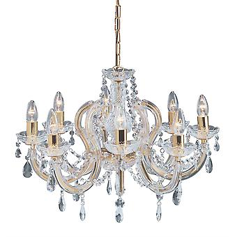 8 light gepolijst messing Marie Therese Crystal Fittng - zoeklicht 699-8
