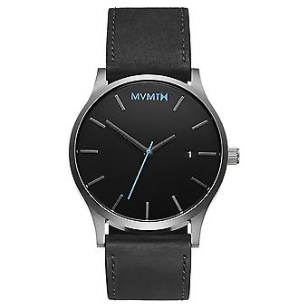 MVMT CLASSIC Black Silver Men's Watch wristwatch leather MM01-BSL