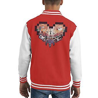 Retro Gaming Heart Kid's Varsity Jacket