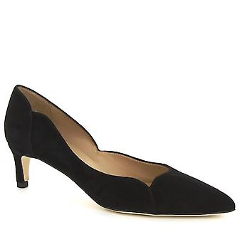 Leonardo Shoes Women's handmade low heels pumps shoes in black suede leather