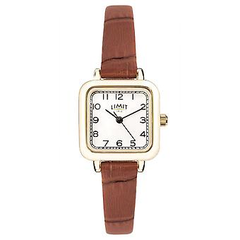 Limit | Womens Brown Leather Strap | White Dial | Gold Case | 60058.01 Watch