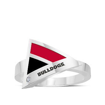 University Of Georgia Engraved Sterling Silver Diamond Geometric Ring In Red and Black