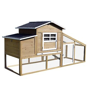 PawHut Chicken Coop Wood Hen Cage Poultry House Small Animal Hutch Nesting Box Slide out Tray w/ Outdoor Run , 200 x 80 x 105 cm